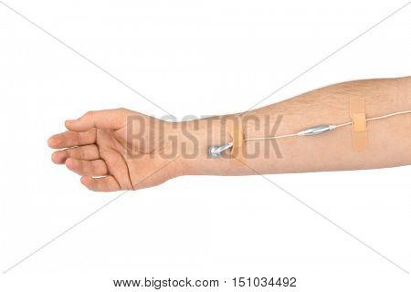 Hand with earphones like medical IV infusion isolated on white background