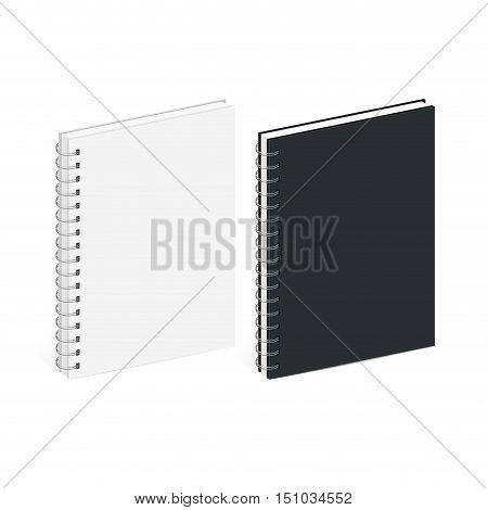 Blank Spiral Notebook Template. Black and white covers. Isometric view on white background. Realistic mockups. Vector illustration