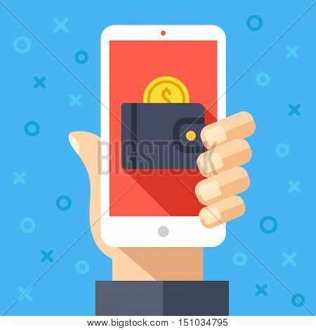 Hand holding smartphone with wallet and coin on screen. Online payment, internet banking, pay with your cellphone, mobile wallet graphic design concepts. Creative modern flat vector illustration