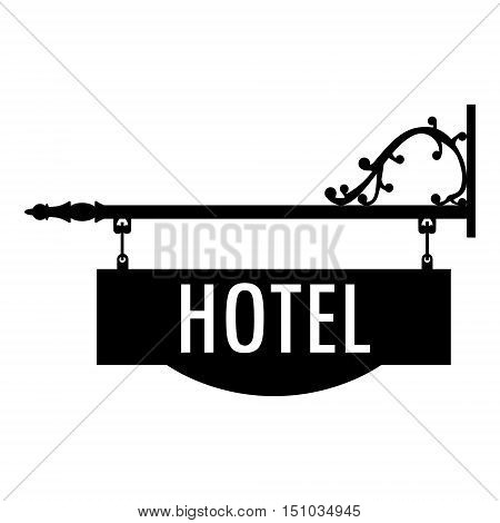 Vector illustration hotel vintage old sign. Signage shop sign route hanging information banner retailer. Hotel door sign