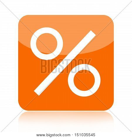 Percent orange icon isolated on white background