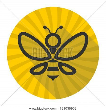 Simple Black Bee Icon with long shadow