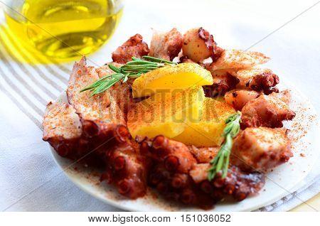 Galician style octopus pulpo a la gallega or pulpo a Feira. Typical spanish tapas.