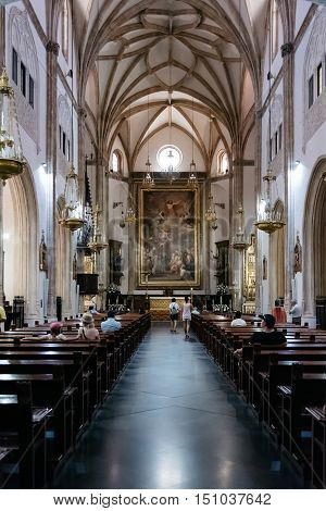 Madrid Spain - July 03 2016: San Jeronimo church interior view. It is a Roman Catholic church from the early 16th-century in central Madrid near Prado museum.