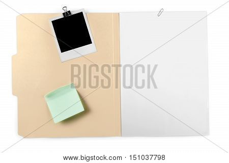 File Folder with Blank Pages, Polaroid and Adhesive Note