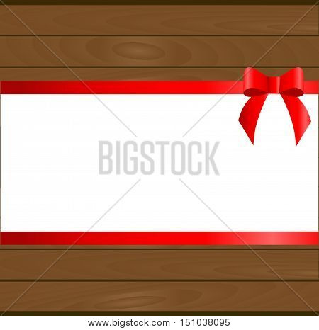 Christmas wooden background with white frame in the middle, a red ribbon and bow. template postcard greeting. new year vector illustration
