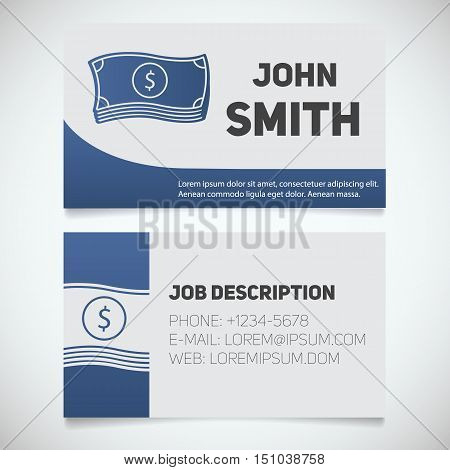 Business card print template with cash logo. Easy edit. Businessman. Stationery design concept. Vector illustration