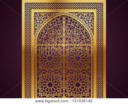 Ramadan background with golden arch wit closed doors with golden arabic pattern background for holy month of muslim community Ramadan Kareem EPS 10 contains transparency