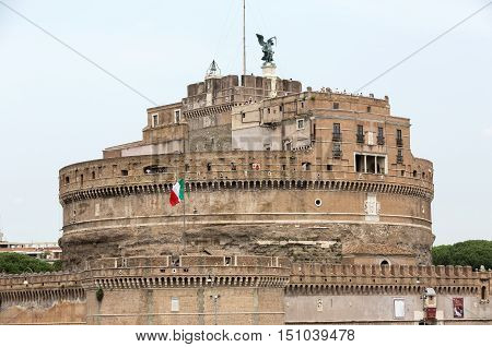 Rome - View of Castel Sant'Angelo Castle of the Holy Angel built by Hadrian in Rome along Tiber River