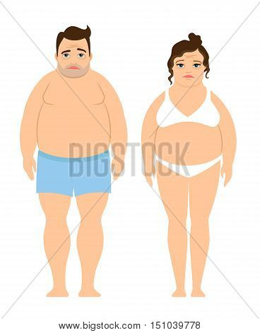 Overweight man and woman icons on white background. Diet and lifestyle ector illustration
