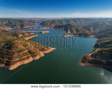 Odelouca dam in Monchique. Portugal Algarve Aerial sky.