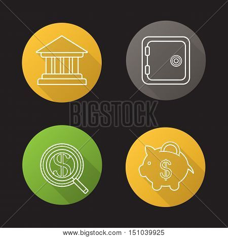 Banking and finance flat linear long shadow icons set. Bank building, safe deposit box, investors search, courthouse, piggybank with coin. Vector line symbols
