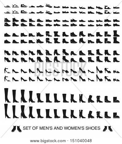 Set of isolated silhouettes of men and women shoes