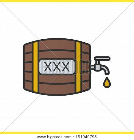 Alcohol wooden barrel color icon. Whiskey or rum barrel with tap, drop and xxx sign. Isolated vector illustration
