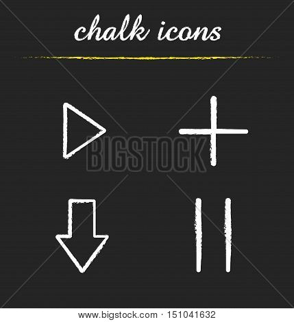 Audio player chalk icons set. Play, add, download, pause buttons. Isolated vector chalkboard illustrations