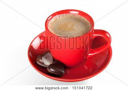 Red coffee cup and chocolate cookies. Isolated on white background