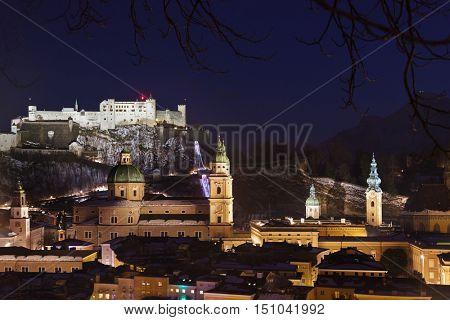 City and castle Hohensalzburg at night - Salzburg Austria