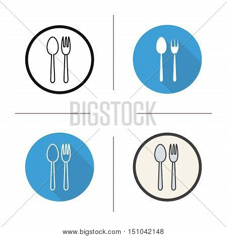 Fork and spoon icon. Flat design, linear and color styles. Cafe and restaurant sign. Eatery symbol. Isolated vector illustrations