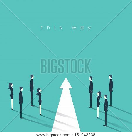 Teamwork and leadership business concept vector illustration. Symbol of decisiveness, right decision, planning, strategy direction. Eps10 vector illustration.