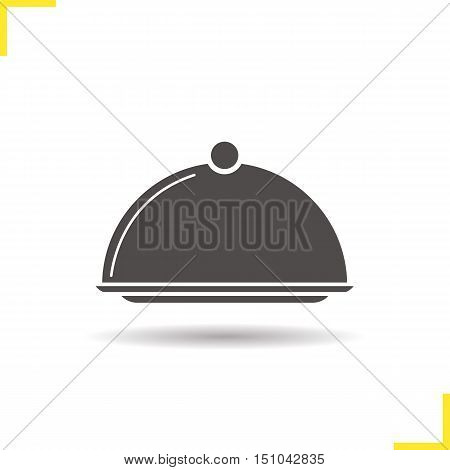 Covered dish icon. Drop shadow silhouette symbol. Restaurant food serving dish platter with lid. Negative space. Vector isolated illustration