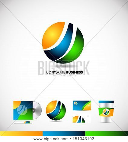 Sphere circle colors colored business vector logo icon sign design template corporate identity
