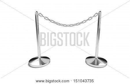 Silver Chain With Easel Stands Isolated On The White Background.