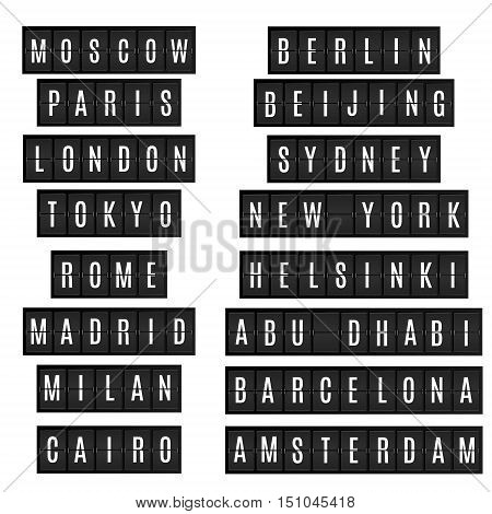 World big cities names in airport time table board style. New york London Beijing Tokyo Moscow and other megapolises on isolated black timetable. Vector illustration isolated design elements.