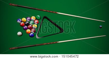Vector realistic billiard balls and cues on the table.