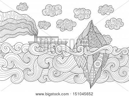 Zendoodle design of seascape with running vessel and iceberg for illustration and adult coloring for anti stress - Stock Vector