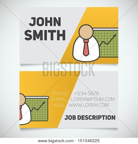 Business card print template with presentation graph logo. Easy edit. Marketer. Stockbroker. Analyst. Stationery design concept. Vector illustration