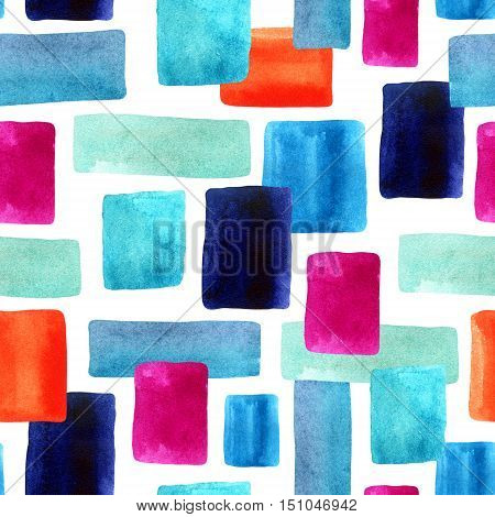 Watercolor abstract geometrical seamless pattern. Watercolor rectangles with paper texture background. Hand painted illustration