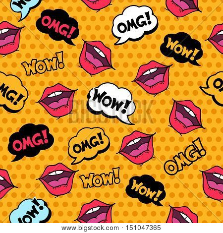 Wow! Seamless Pattern In Pop Art Comic Style With Speech Bubbles And Girl Lips.