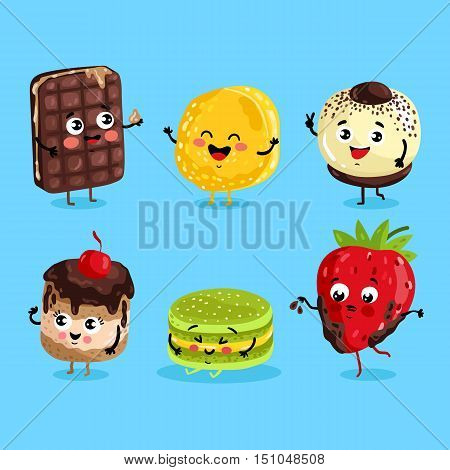 Cartoon funny foods characters isolated vector illustration. Funny foods sweet dessert face icon. Funny dessert emoji. Funny wafer, laughing cupcake and happy cookies. Cartoon foods emoticon face. Funny food cocept and smiling cute food. Cartoon food.