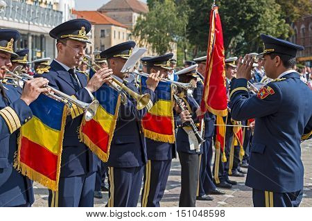 TIMISOARA ROMANIA - SEPTEMBER 25 2016: Military fanfare playing at trumpet with occasion of Festival of fanfares