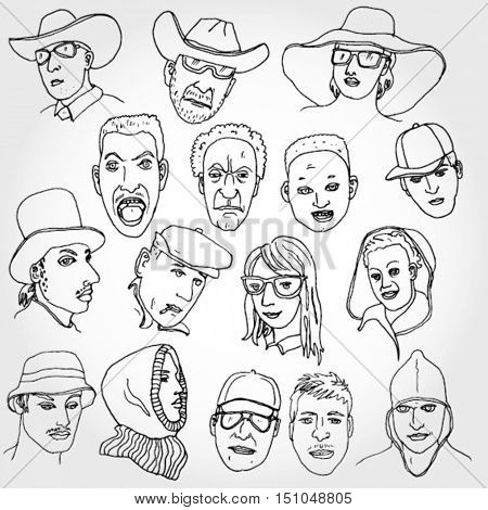 Some Doodle Faces Outlined
