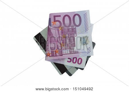 Closeup of folded five hundred 500 Euro banknote money bill on credit cards isolated on white background