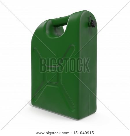 Gasoline jerrican isolated on white background. 3D illustration