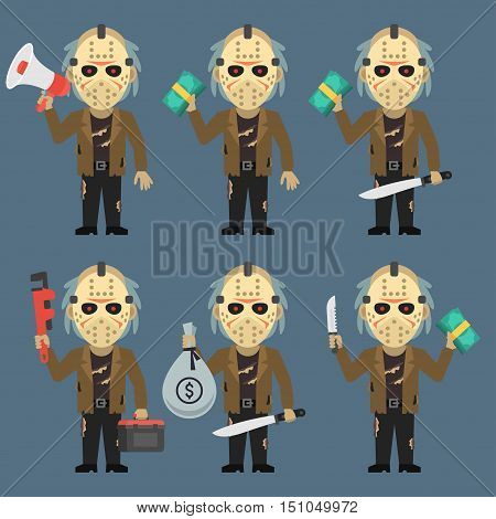Vector Illustration, Maniac Holds Machetes Pipe Wrench Money Megaphone, Format EPS 8