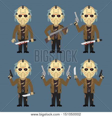 Vector Illustration, Maniac Holds Weapons Machete Knife, Format EPS 8