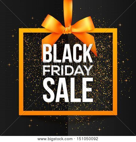 Black Friday Sale white vector sign in orange frame hanging on silky ribbon with bow and golden dust around. Black Friday sale sign. Orange square frame with silky bow. Black folded paper background.