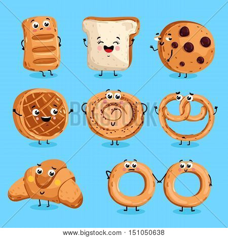Cartoon funny bakery characters isolated vector illustration. Funny food face icon. Bakery emoji. Funny cookies, laughing bread. Cartoon emoticon face of food. Gloomy croissant, pretzel. Funny food. Funny food cocept and smiling cute food. Cartoon food.