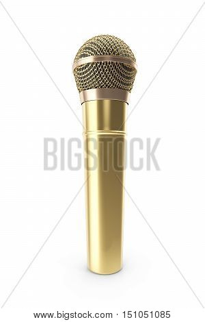 Gold, prestigious wireless microphone isolated on white background. 3d rendering.