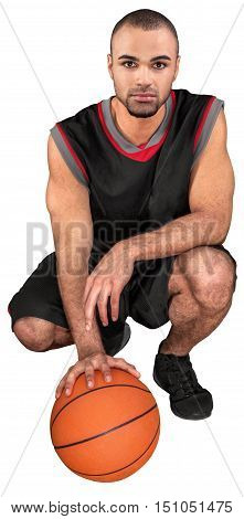 Basketball Player Crouch Down with a Ball - Isolated