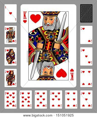 Playing cards of Hearts suit and back on green background. Colorful original design
