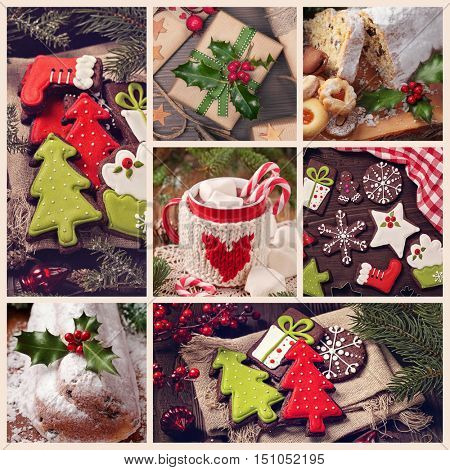 Collage with christmas sweets photos
