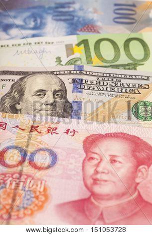 American dollars European euro Swiss franc and Chinese yuan bills