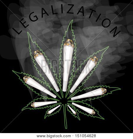 Illustration legalization of marijuana on a black background.