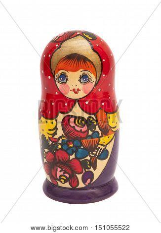 Russian doll - matreshka on white background