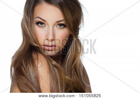 Sexy blond woman posing on white background