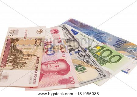 American dollars European euro Swiss franc Chinese yuan and Russian Ruble bills